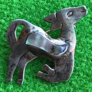 sterling silver Abalone Taxco Mexico  doe deer pin